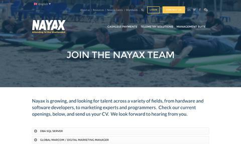Screenshot of Jobs Page nayax.com - Careers - Nayax - captured Dec. 21, 2016