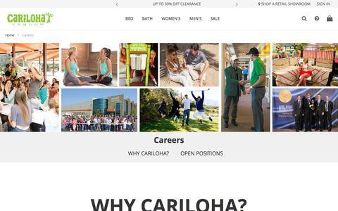 Screenshot of Jobs Page cariloha.com - Careers - captured Oct. 31, 2019