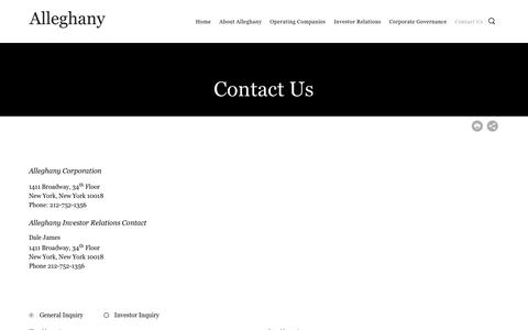 Screenshot of Contact Page alleghany.com - Alleghany Corporation - Contact Us - captured Jan. 13, 2020