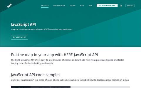 Screenshot of Developers Page here.com - JavaScript API - HERE Developer - captured June 4, 2019