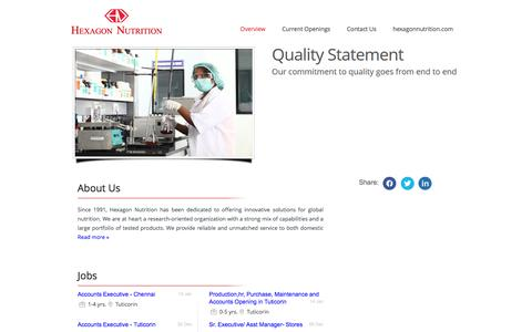 Screenshot of Jobs Page hexagonnutrition.com - Careers in  Hexagon Nutrition Pvt Ltd - Jobs in  Hexagon Nutrition Pvt Ltd  - Current openings in  Hexagon Nutrition Pvt Ltd - captured Jan. 22, 2016