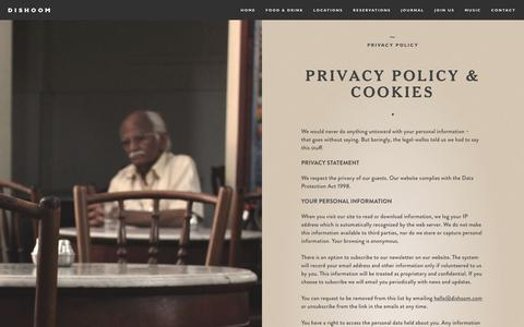 Screenshot of Privacy Page dishoom.com - Privacy Policy | Dishoom - captured Jan. 8, 2016
