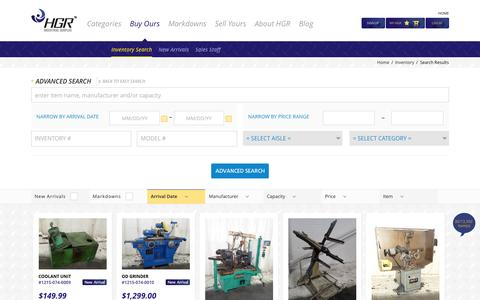 Screenshot of Products Page hgrinc.com - Used Industrial Surplus - Search HGR's Complete Inventory - captured Jan. 23, 2016