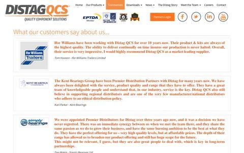 Screenshot of Testimonials Page distag.com - Distag testimonials Distag - Quality Component Solutions - captured Dec. 19, 2018