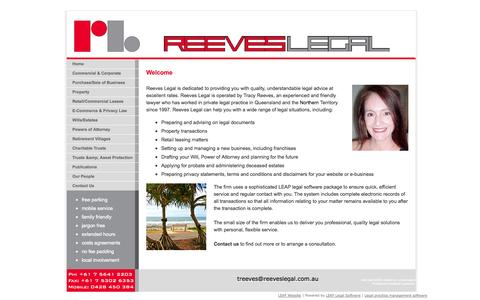 Screenshot of Home Page reeveslegal.com.au - Reeves Legal | Sunshine Coast | Property | Leases | Wills | Sale/Purchase of Business | E-commerce | Privacy - captured Sept. 30, 2014