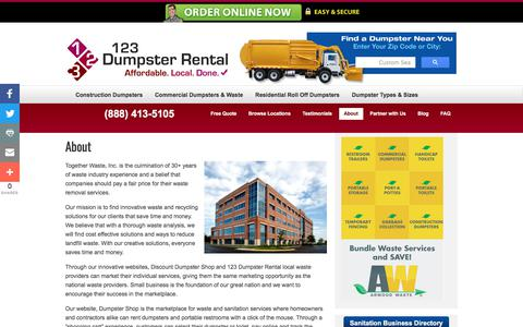 Screenshot of About Page 123dumpsterrental.com - About | Commercial, Residential Roll Off, Construction Demolition Dumpsters | Pool & Building Demolition | 123 Dumpster Rental - captured April 2, 2018