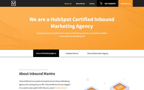 Screenshot of About Page inboundmantra.com - Engage a Goal Oriented Inbound Marketing Agency | Inbound Mantra - captured July 20, 2019