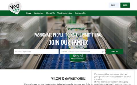 Screenshot of Jobs Page yeovalley.co.uk - Passionate People. Doing the right thing. - Yeo Valley Farms (Production) Ltd - captured Aug. 29, 2019