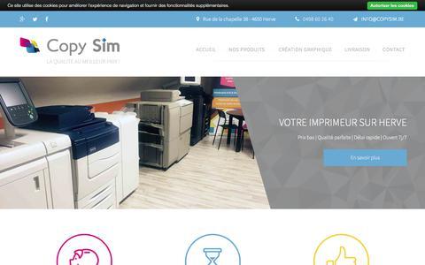 Screenshot of Home Page copysim.be - Copy Sim, imprimerie, photocopies, impression, Herve, Verviers, Liège - captured March 15, 2018