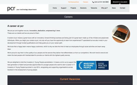 Screenshot of Jobs Page wearepcr.com - Careers - pcr - captured Sept. 25, 2018