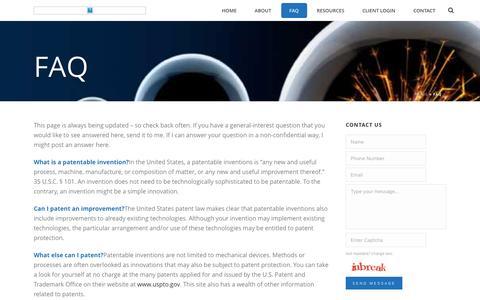Screenshot of FAQ Page ipatentattorney.org - FAQ - Denver Patent Lawyer - Colorado Patent Law Firm - captured Nov. 8, 2016