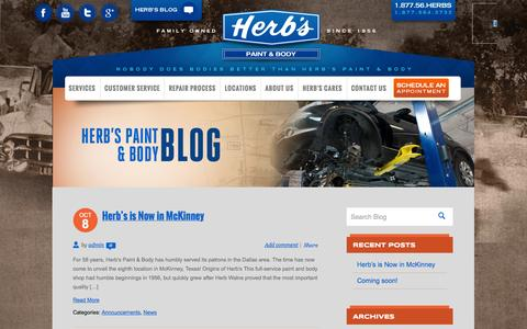 Screenshot of Blog herbspaintandbody.com - Herb's Paint & Body - captured Nov. 2, 2014