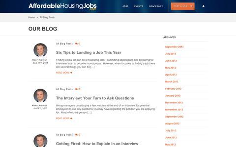 Screenshot of Blog affordablehousingjobs.com - All Blog Posts Archives | Affordable Housing Jobs - captured Oct. 27, 2014