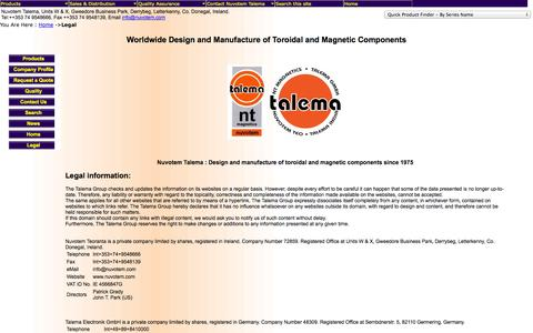Screenshot of Terms Page nuvotem.com - Nuvotem Talema : Home :: Toroidal Transformers, Toroidal Inductors, Toroidal Chokes, Magnetic components - captured Oct. 6, 2014