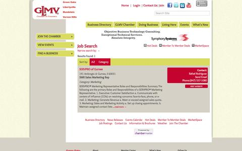 Screenshot of Jobs Page glmvchamber.org - Job Search - GLMV Chamber of Commerce, IL - captured Oct. 17, 2016