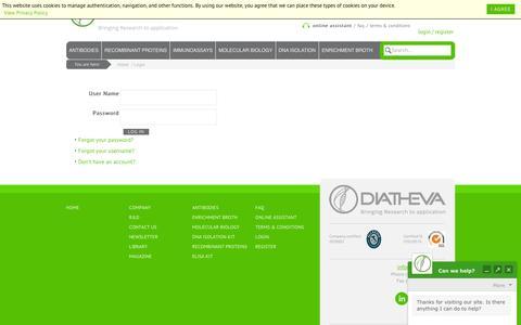Screenshot of Login Page diatheva.com - DIATHEVA - Biomanufacturing of innovative diagnostics and reagents - Login - captured Feb. 9, 2016