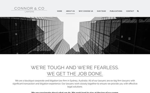 Screenshot of About Page connorco.com.au - About Us - Connor & Co | Legal Firm in Sydney - captured July 20, 2018