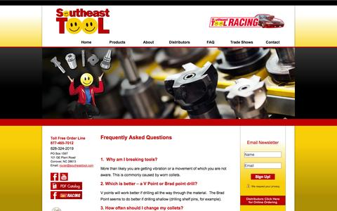 Screenshot of FAQ Page southeasttool.com - FAQs / Router Bits for Wood, Router Bits for Plastic & Tooling Issues | Southeast Tool - captured Oct. 26, 2014