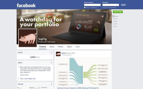 Screenshot of Facebook Page facebook.com - SigFig - San Francisco, CA - Financial Services | Facebook - captured Oct. 22, 2014