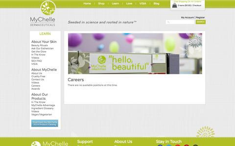 Screenshot of Jobs Page mychelle.com - Careers - captured Sept. 19, 2014
