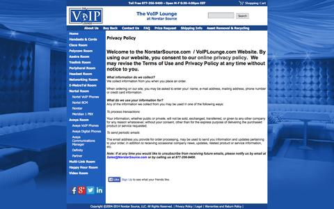 Screenshot of Privacy Page voiplounge.com - Nortel, Avaya, Polycom and Cisco VOIP Phones, Multi-link, PBX systems - captured Oct. 8, 2014