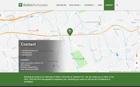 Screenshot of Contact Page rubinfortunato.com - Contact | Rubin, Fortunato & Harbison P.C. | Paoli, Pennsylvania - captured Nov. 16, 2018