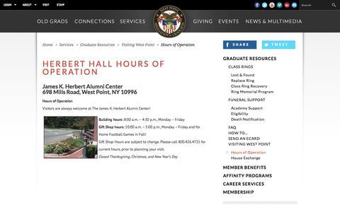 Screenshot of Hours Page westpointaog.org - West Point Association of Graduates - captured Jan. 24, 2017