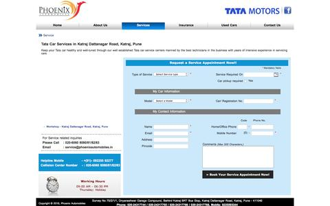 Screenshot of Services Page phoenixautomobiles.in - Tata Car Service in Pune | Tata Authorised Service Centre in Pune | Tata Car Repair in Pune | Phoenix Automobiles - captured July 18, 2018