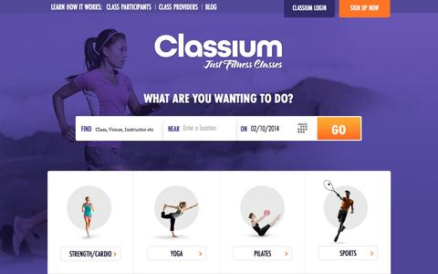 Screenshot of Home Page classium.com.au - Classium | Find Fitness Classes - captured Oct. 2, 2014
