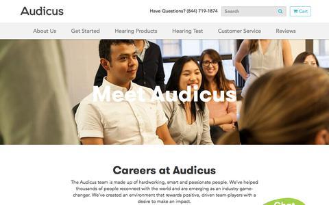 Screenshot of Jobs Page audicus.com - Career Opportunities   Audicus Hearing Aids - captured May 30, 2018