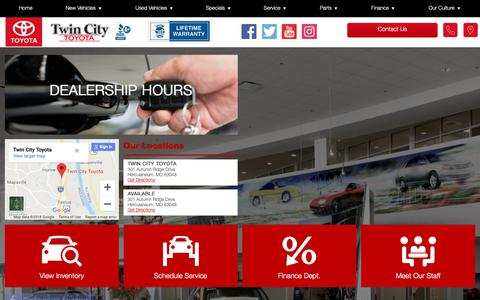 Screenshot of Hours Page twincitytoyota.com - Hours of Operation - Twin City Toyota - captured Oct. 19, 2018