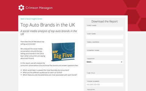 Screenshot of Landing Page crimsonhexagon.com - Social Analysis for Top Five UK Auto Brands - captured March 6, 2018