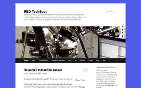 Screenshot of Blog rbdinstruments.com - RBD TechSpot | A blog on the repair, operation and calibration of surface analysis systems and components including electron spectrometers, sputter ion guns and vacuum related hardware.   Click on the Index tab below to see a list of all posts.       - captured Oct. 23, 2017