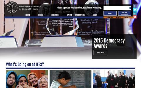 Screenshot of Home Page ifes.org - IFES - captured Sept. 20, 2015