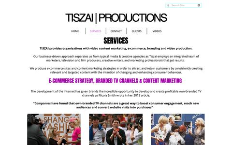 Screenshot of Services Page tiszai.net - Video Content Marketing - captured Oct. 19, 2018