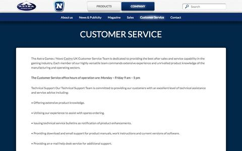 Screenshot of Support Page astra-games.com - Customer Service - Astra Games - captured Sept. 30, 2014