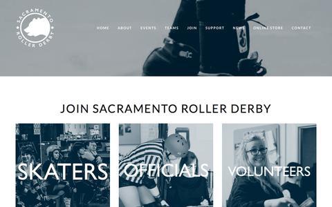 Screenshot of Signup Page sacramentorollerderby.com - Join — Sacramento Roller Derby - captured Feb. 20, 2018