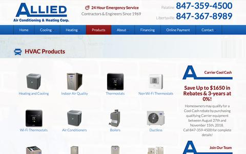 Screenshot of Products Page alliedairheat.com - HVAC Products   Allied Air Conditioning & Heating Corp. - captured Oct. 3, 2018