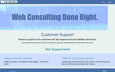 Screenshot of Support Page waztech.com - Waztech : Waztech Help and Support - captured Oct. 26, 2014