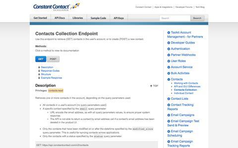 Screenshot of Developers Page constantcontact.com - Contacts Collection | Constant Contact Developer - captured Dec. 5, 2017