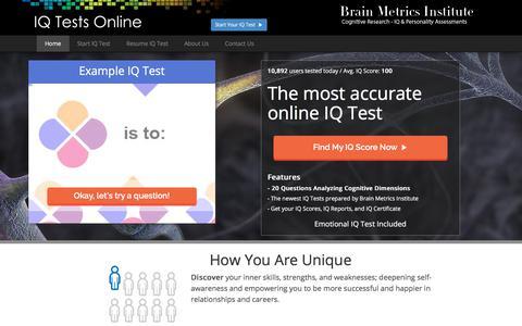 Screenshot of Home Page iq-tests-online.com - IQ Test - captured Jan. 26, 2018