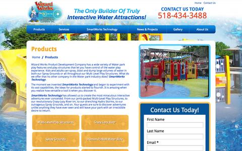 Screenshot of Products Page wizardworks.biz - Products | Water Attractions | Wizard Works - captured Nov. 4, 2014