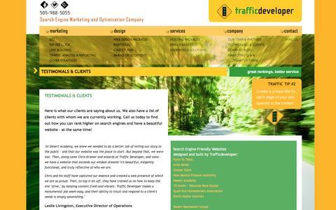 Screenshot of Testimonials Page trafficdeveloper.com - Trafficdeveloper Client Testimonials - captured May 15, 2017