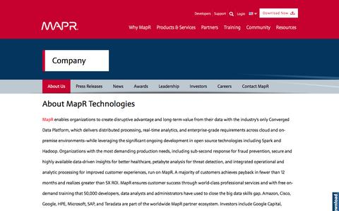 Screenshot of About Page mapr.com - | MapR - captured Sept. 1, 2016