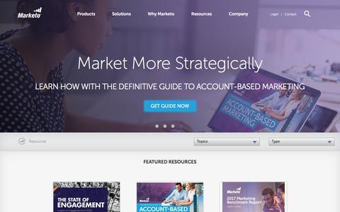 Screenshot of marketo.com - Marketing Tools, Resources, & Best Practices - Marketo - captured Jan. 6, 2018