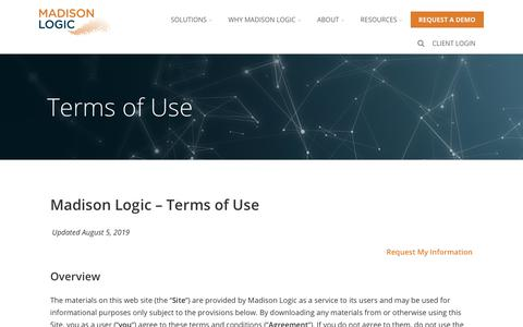Screenshot of Terms Page madisonlogic.com - Terms of Use - Account-Based Marketing from Madison Logic - captured Aug. 10, 2019