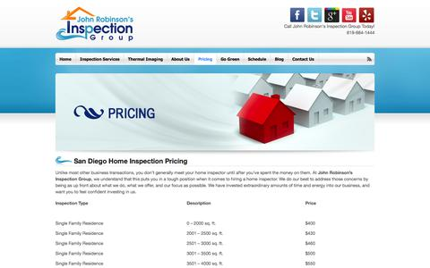 Screenshot of Pricing Page home-inspector-san-diego.com - Home Inspection Pricing - San Diego Home Inspector - captured Oct. 6, 2014