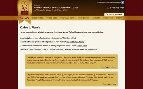 Screenshot of Testimonials Page vernstoffee.com - Clients Around The World Enjoy Vern's Original Toffee Recipe - captured Oct. 26, 2014