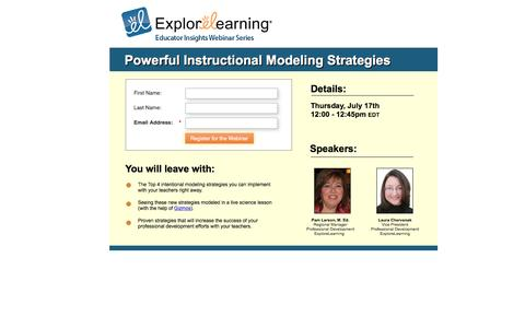 Screenshot of Landing Page explorelearning.com captured Sept. 7, 2016