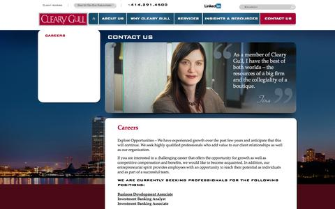 Screenshot of Jobs Page clearygull.com - Careers | Cleary Gull, Inc. - captured Sept. 30, 2014